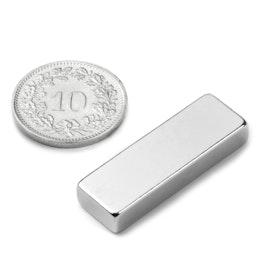 Q-30-10-05-N Parallélépipède magnétique 30 x 10 x 5 mm, tient env. 6.5 kg, néodyme, N42, nickelé