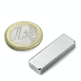 Q-30-10-05-N Block magnet 30 x 10 x 5 mm, neodymium, N42, nickel-plated