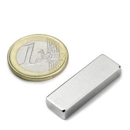 Q-30-10-05-N Blokmagneet 30 x 10 x 5 mm, houdt ca. 6,5 kg, neodymium, N42, vernikkeld
