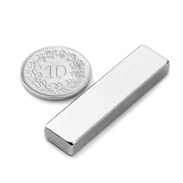 Q-40-10-05-N Block magnet 40 x 10 x 5 mm, neodymium, N42, nickel-plated