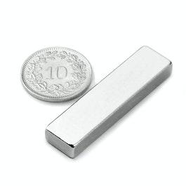 Q-40-10-05-N Parallélépipède magnétique 40 x 10 x 5 mm, néodyme, N42, nickelé