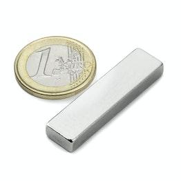Q-40-10-05-N Blokmagneet 40 x 10 x 5 mm, houdt ca. 9,5 kg, neodymium, N42, vernikkeld