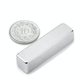 Q-40-10-10-N Blokmagneet 40 x 10 x 10 mm, houdt ca. 15 kg, neodymium, N42, vernikkeld