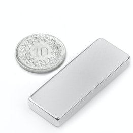 Q-40-15-05-N Block magnet 40 x 15 x 5 mm, neodymium, N40, nickel-plated