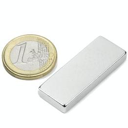 Q-40-15-05-N Block magnet 40 x 15 x 5 mm, neodymium, N40, nickel-plated