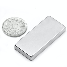 Q-40-18-05-N Block magnet 40 x 18 x 5 mm, neodymium, N35, nickel-plated