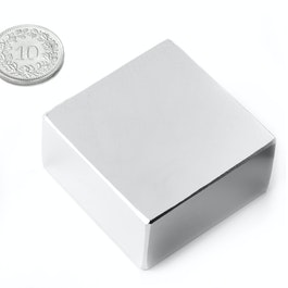Q-40-40-20-N Block magnet 40 x 40 x 20 mm, neodymium, N42, nickel-plated