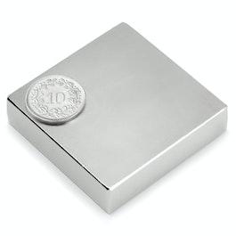 Q-50-50-12.5-N Quadermagnet 50 x 50 x 12.5 mm, Neodym, N35, vernickelt