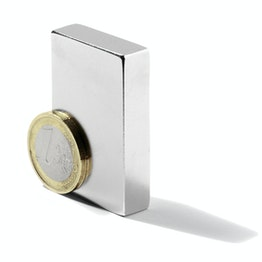 Q-50-25-10-LN Parallelepipedo magnetico 50 x 25 x 10 mm, neodimio, N40, nichelato