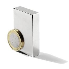 Q-50-25-10-LN Block magnet 50 x 25 x 10 mm, holds approx. 12 kg, neodymium, N40, nickel-plated