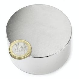 S-70-35-N Disco magnetico Ø 70 mm, altezza 35 mm, tiene ca. 140 kg, neodimio, N45, nichelato