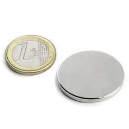 S-30-03-N Disque magnétique Ø 30 mm, hauteur 3 mm, néodyme, N45, nickelé