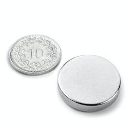 S-25-05-N Disque magnétique Ø 25 mm, hauteur 5 mm, néodyme, N42, nickelé
