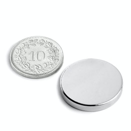 S-25-03-N Disc magnet Ø 25 mm, height 3 mm, holds approx. 5.5 kg, neodymium, N45, nickel-plated