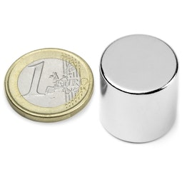 S-20-20-N Disc magnet Ø 20 mm, height 20 mm, holds approx. 15 kg, neodymium, N42, nickel-plated