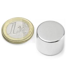 S-20-15-N Disque magnétique Ø 20 mm, hauteur 15 mm, tient env. 13 kg, néodyme, N42, nickelé