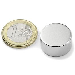 S-20-10-N Disco magnético Ø 20 mm, alto 10 mm, sujeta aprox. 11 kg, neodimio, N42, niquelado