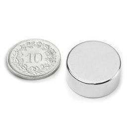 S-20-09-N Disc magnet Ø 20 mm, height 9 mm, neodymium, N42, nickel-plated
