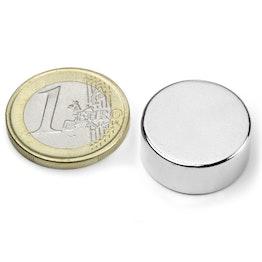 S-20-09-N Disc magnet Ø 20 mm, height 9 mm, neodymium, N42, nickel-plated