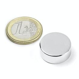 S-20-08-N Disco magnetico Ø 20 mm, altezza 8 mm, tiene ca. 9,3 kg, neodimio, N42, nichelato