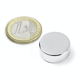 S-20-07-N Disc magnet Ø 20 mm, height 7 mm, neodymium, N42, nickel-plated
