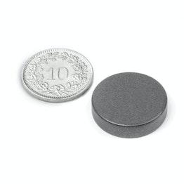 S-20-05-T Disque magnétique Ø 20 mm, hauteur 5 mm, tient env. 6.4 kg, néodyme, N42, revêtu de téflon