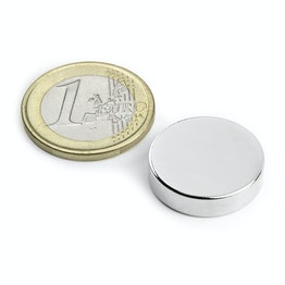 S-20-05-N Disc magnet Ø 20 mm, height 5 mm, holds approx. 6,4 kg, neodymium, N42, nickel-plated