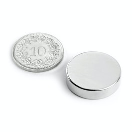 S-20-05-N Disque magnétique Ø 20 mm, hauteur 5 mm, néodyme, N42, nickelé