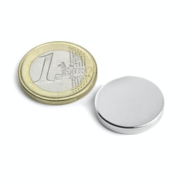 S-20-03-N Disc magnet Ø 20 mm, height 3 mm, neodymium, N45, nickel-plated
