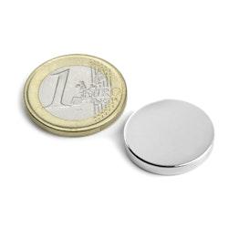 S-20-03-N Disco magnético Ø 20 mm, alto 3 mm, sujeta aprox. 4,3 kg, neodimio, N45, niquelado