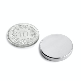 S-20-03-N Disque magnétique Ø 20 mm, hauteur 3 mm, néodyme, N45, nickelé