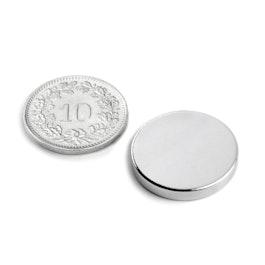 S-20-03-N Disc magnet Ø 20 mm, height 3 mm, neodymium, N45, nickel-plated