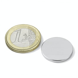 S-20-02-N Disco magnético Ø 20 mm, alto 2 mm, neodimio, N45, niquelado
