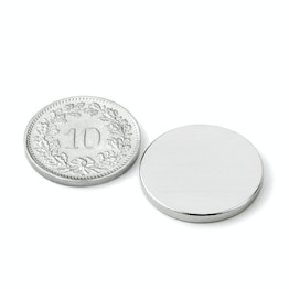 S-20-02-N Disc magnet Ø 20 mm, height 2 mm, neodymium, N45, nickel-plated