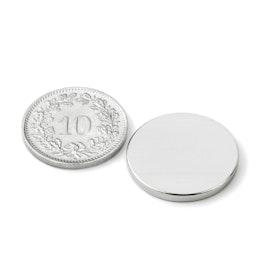 S-20-02-N Disco magnético Ø 20 mm, alto 2 mm, sujeta aprox. 2.9 kg, neodimio, N45, niquelado