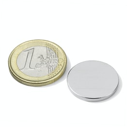 S-20-02-N52N Disco magnético Ø 20 mm, alto 2 mm, neodimio, N52, niquelado