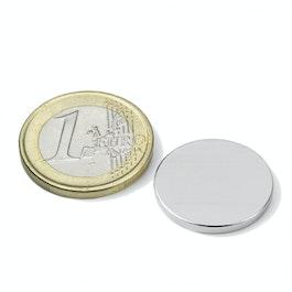 S-20-02-N52N Disc magnet Ø 20 mm, height 2 mm, neodymium, N52, nickel-plated
