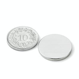 S-20-02-N52N Scheibenmagnet Ø 20 mm, Höhe 2 mm, Neodym, N52, vernickelt