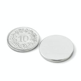 S-20-02-N52N Disco magnético Ø 20 mm, alto 2 mm, sujeta aprox. 3.4 kg, neodimio, N52, niquelado