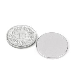 S-20-1.5-N Disque magnétique Ø 20 mm, hauteur 1.5 mm, néodyme, N38, nickelé
