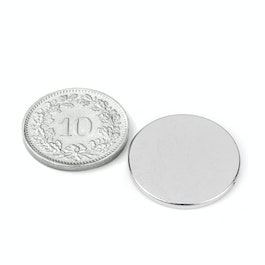 S-20-1.5-N Disc magnet Ø 20 mm, height 1.5 mm, neodymium, N38, nickel-plated