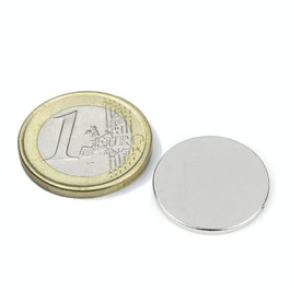 S-20-1.5-N Disc magnet Ø 20 mm, height 1,5 mm, neodymium, N38, nickel-plated