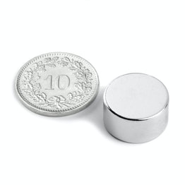 S-15-08-N Disc magnet Ø 15 mm, height 8 mm, neodymium, N42, nickel-plated