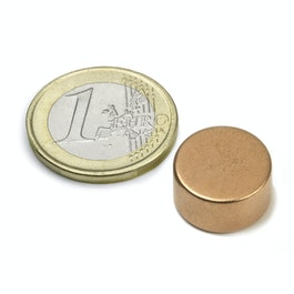 S-15-08-K Disc magnet Ø 15 mm, height 8 mm, neodymium, N42, copper-plated