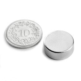 S-15-05-N Schijfmagneet Ø 15 mm, hoogte 5 mm, houdt ca. 4.5 kg, neodymium, N42, vernikkeld