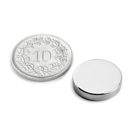 S-15-03-N Disque magnétique Ø 15 mm, hauteur 3 mm, néodyme, N45, nickelé