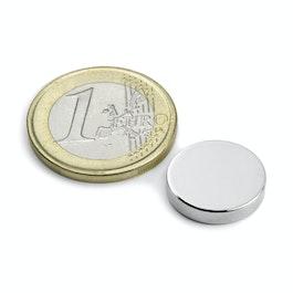 S-15-03-N Disco magnetico Ø 15 mm, altezza 3 mm, neodimio, N45, nichelato