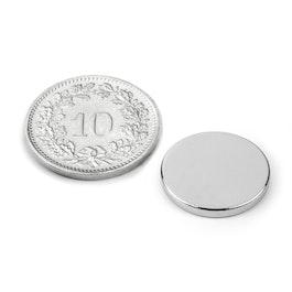 S-15-02-N Disc magnet Ø 15 mm, height 2 mm, neodymium, N40, nickel-plated