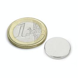 S-15-02-N Disque magnétique Ø 15 mm, hauteur 2 mm, tient env. 1,9 kg, néodyme, N40, nickelé