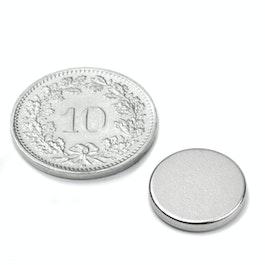 S-13-02-N Scheibenmagnet Ø 13 mm, Höhe 2 mm, Neodym, N45, vernickelt